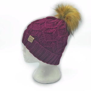 The Luxe Fold Up Hexa Beanie in Wine with  Cinnamon Pom