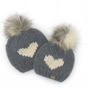 The Big Heart Beanie in Oxford Grey with Rocky Road Pom