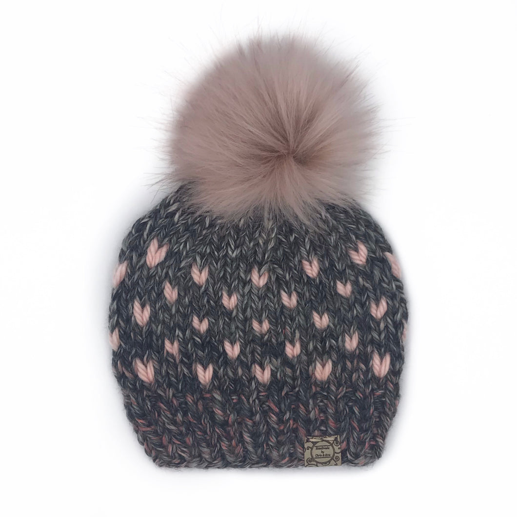 The Mini Heart Beanie in Salem Creek with Pink Hearts and Blossom Pom - Toddler