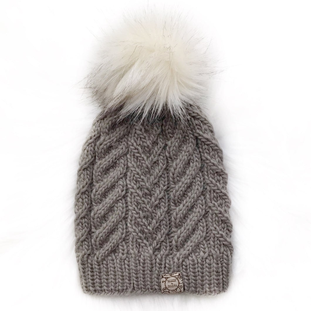 The Luxe Yuki Beanie in Taupe with  Rocky Road Pom