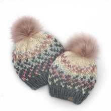 Load image into Gallery viewer, The Sunrise Beanie in Oxford Grey, Carousel and Cream with a Blossom Pom
