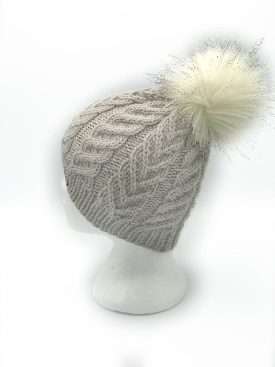 The Luxe Yuki Beanie in Pearl with Rocky Road Pom