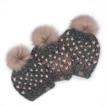 Load image into Gallery viewer, The Mini Heart Beanie in Salem Creek with Pink Hearts and Blossom Pom - Toddler