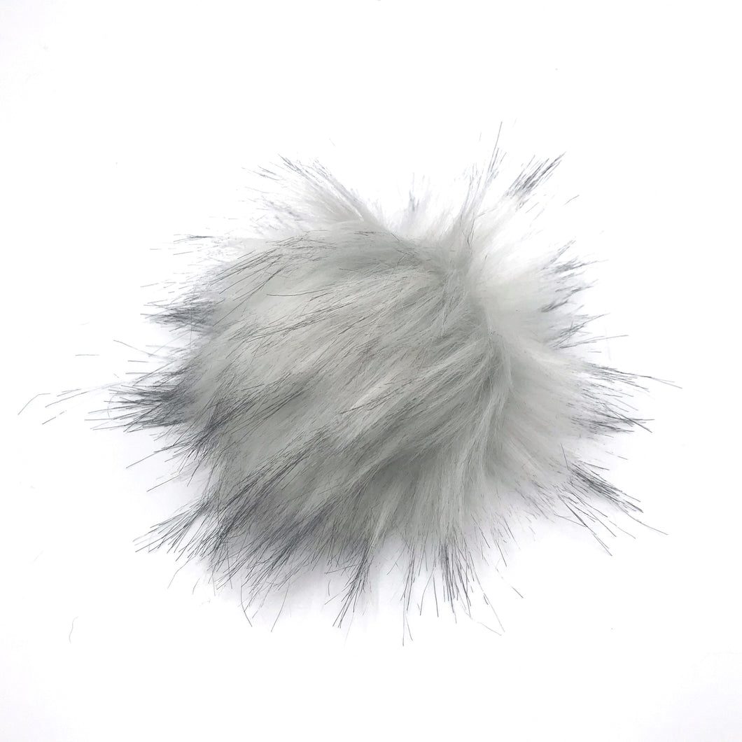 Silver Fox Faux Fur Poms
