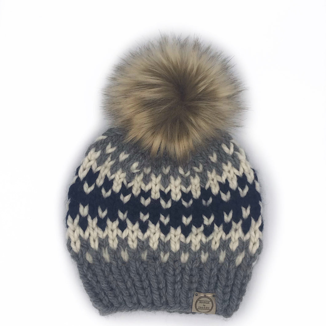 The Westbrook Beanie in Navy, Grey and Fishermen with Kodiak Pom - Toddler