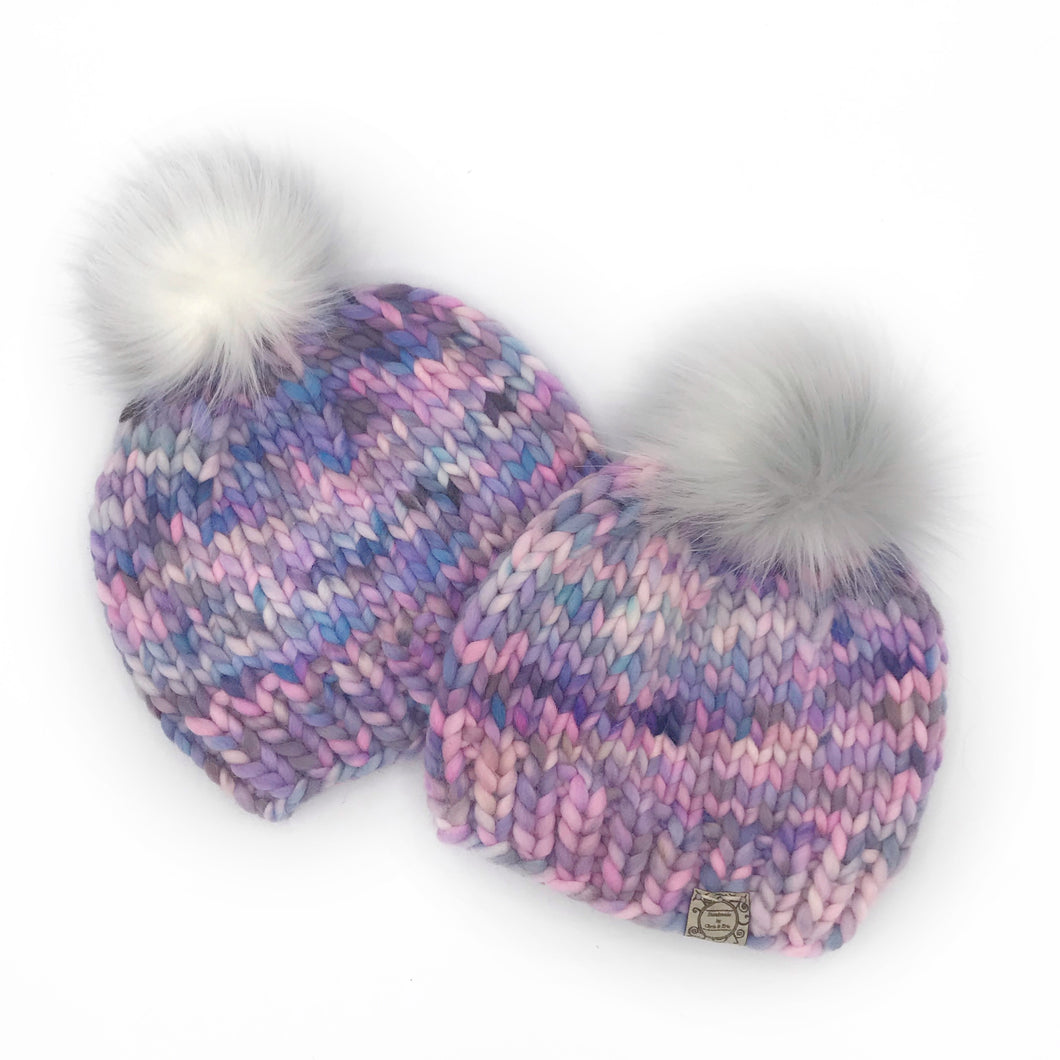The Luxe Classic Beanie with Pink Snowy Peak Pom