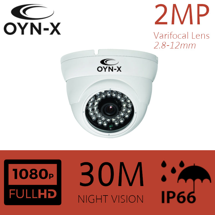 2MP VARIFOCAL Lens 2.8-12mm HDOC Dome Camera 30m IR WHITE