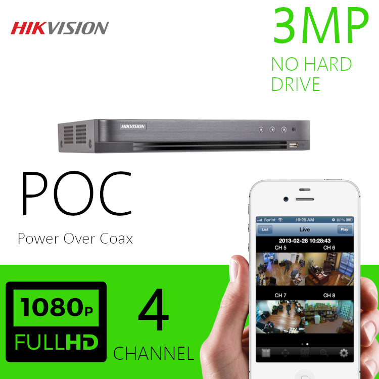 Hikvision 3MP 4 Channel DVR Power over Coax DVR