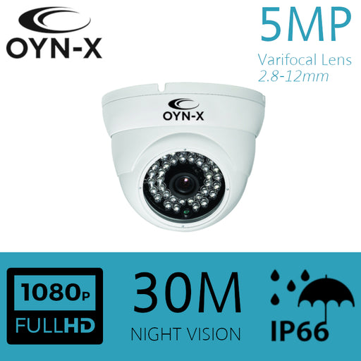 5MP VARIFOCAL Lens 2.8-12mm HDOC Dome Camera 30m IR WHITE