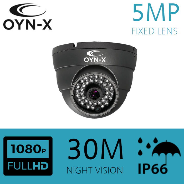 5MP Fixed Lens 3.6mm IP Dome Camera 30m IR GREY