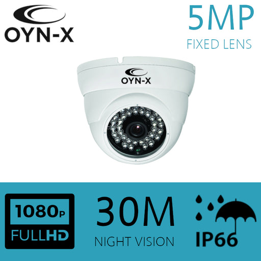 5MP Fixed Lens 3.6mm HDOC Dome Camera 30m IR WHITE