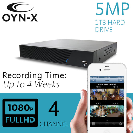 OYN-X 5MP CCTV Recorder 4 Channel DVR 1TB H265+