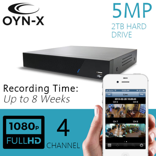 OYN-X 5MP CCTV Recorder 4 Channel DVR 2TB H265+