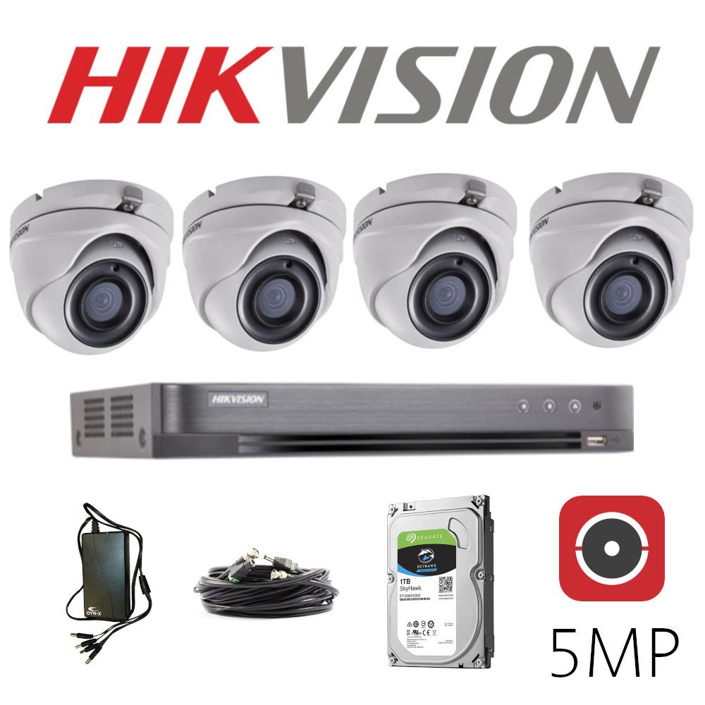 5MP Hikvision CCTV camera system with 4 cameras.