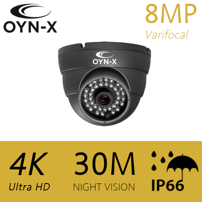 OYN-X 8MP/4K Varifocal HDOC Dome camera 30m GREY