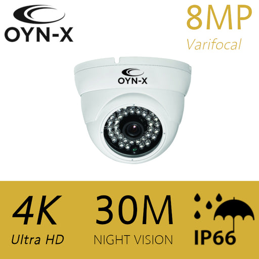 OYN-X 8MP/4K Varifocal HDOC Dome camera 30m WHITE