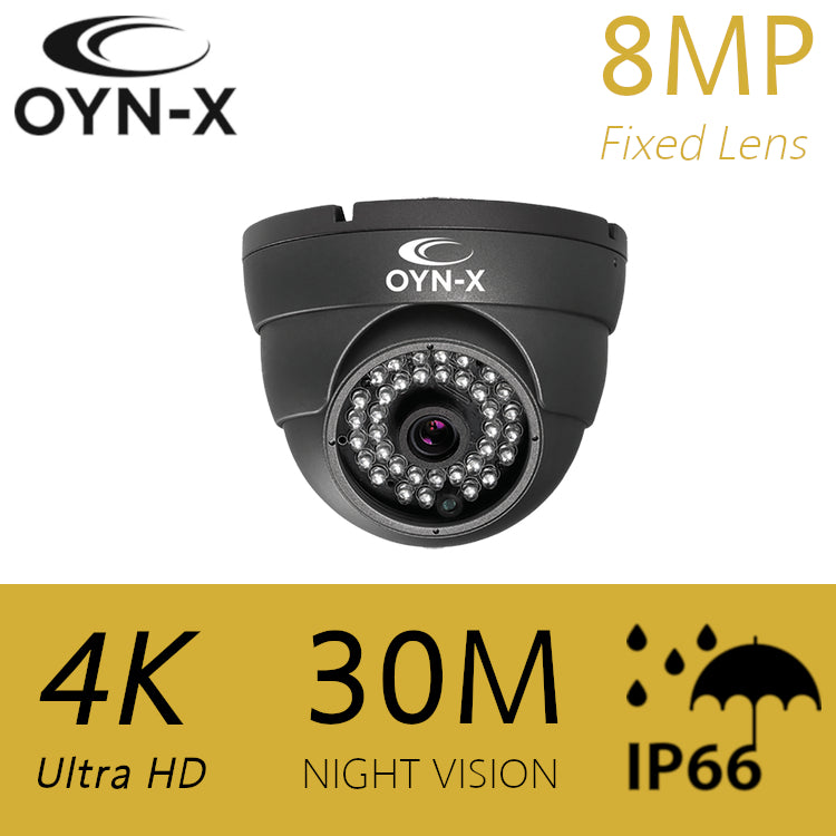 OYN-X 8MP 3.6mm 30m IR HDOC dome camera GREY