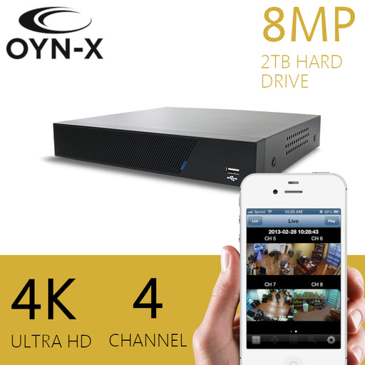 OYN-X 8MP 4K 2TB CCTV Recorder 4 Channel DVR H265+