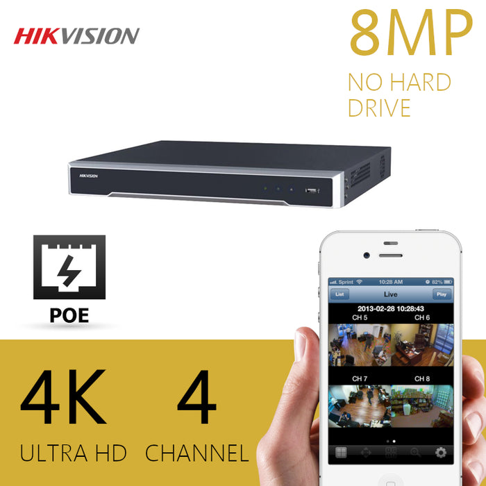 Hikvision 4K/8MP 4 Channel NVR POE