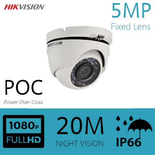 Hikvision 5MP CCTV Camera Power Over Coax HDOC Dome Eyeball 20m IR