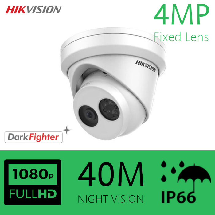 Hikvision Darkfighter IP Dome Camera 4MP Turret EXT 2.8MM