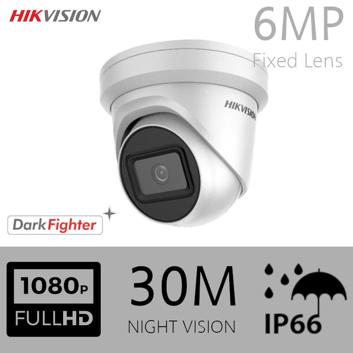 Hikvision Darkfighter IP Dome 6MP Turret EXT 4MM 30M