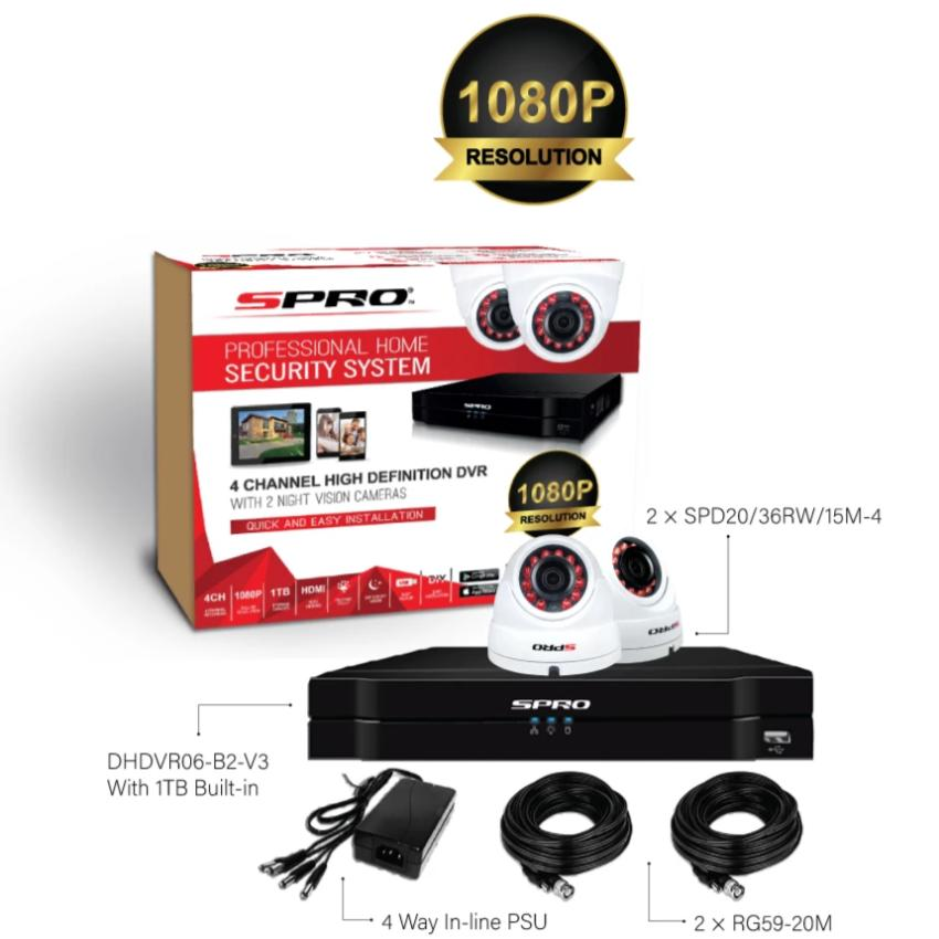 SPRO 2.4MP 2 Camera CCTV Kit with 1TB Hard Drive