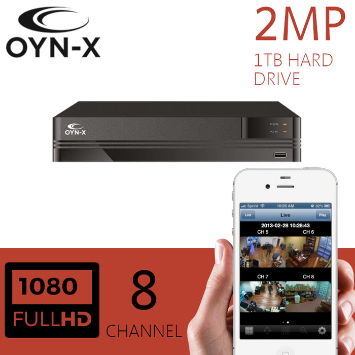 OYN-X 2MP CCTV Recorder 8 Channel DVR 1TB