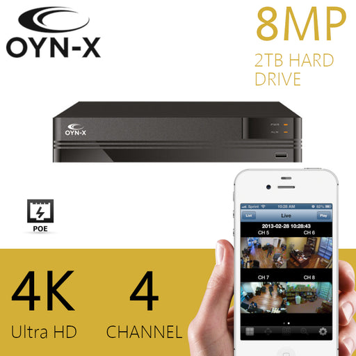 OYN-X 8MP/4K 4 Channel NVR 2TB