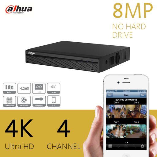 Dahua Lite 8MP 4K Compact CCTV Recorder 4 Channel DVR H.265+