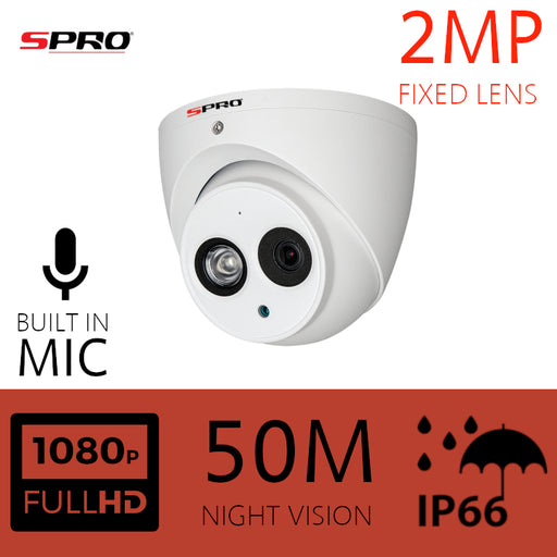 2MP Fixed Lens HDOC Dome Microphone Built-in 50m IR WHITE