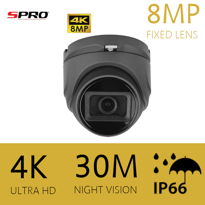 SPRO 4K/8MP HDOC Dome Camera 2.8mm 30m IR GREY