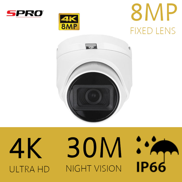 SPRO 4K/8MP HDOC Dome Camera 2.8mm 30m IR WHITE