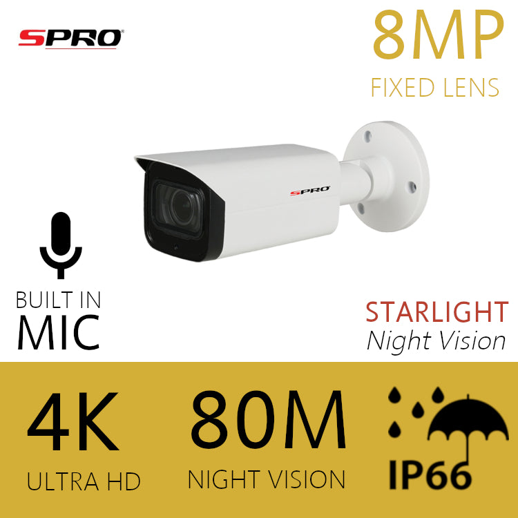 8MP Fixed Lens HDOC Bullet STARLIGHT Microphone Built-in 80m IR