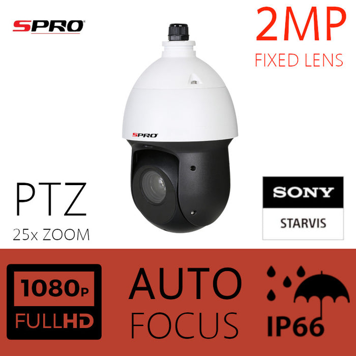 SPRO 2MP HDOC Dome PTZ with 25x Optical Zoom & Sony Starvis Lens