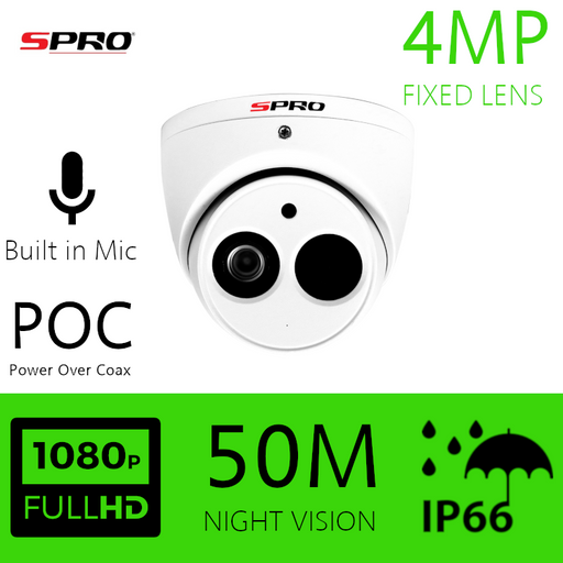 SPRO 4MP  HDOC Dome Camera Power Over Coax Camera built in Microphone 50m IR