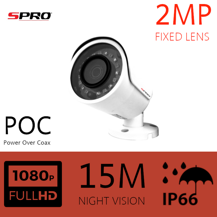 SPRO 2MP Fixed Lens Bullet Power Over Coax Camera 15m IR