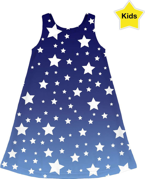 White Stars Blue Ombre Kids Dress