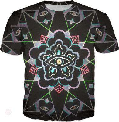 All Seeing Eye Flower T-Shirt - Free Shipping - T-Shirts