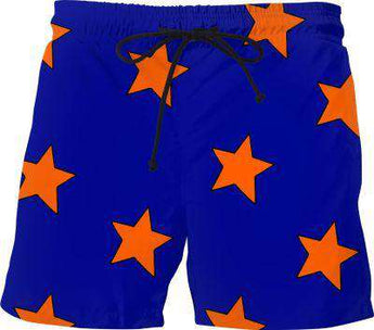 Big Orange Stars Blue Swim Shorts - Free Shipping