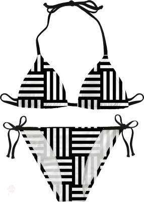 Black And White Weave Bikini - Free Shipping - Bikinis