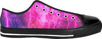 Blue And Pink Prophecy Black Low Tops Shoes - Free Shipping - Lowtop Blacksole
