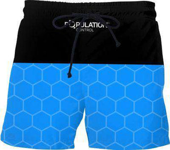 Blue Hex Swim Shorts - Free Shipping