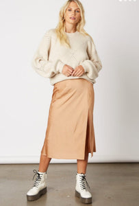 Side Slit Satin Midi Skirt