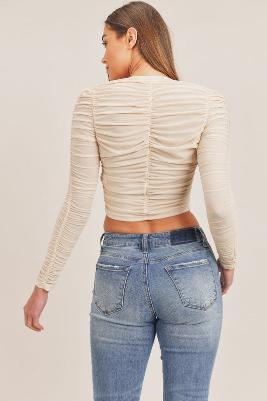 Kylie Ruched Corset Crop Top