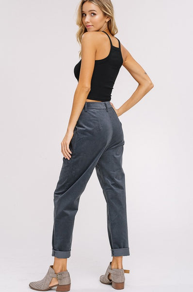 Cord Pleated Pants