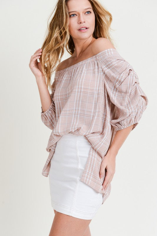 Blush Checked Blouse