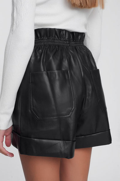 Faux Leather Paper-Bag Short