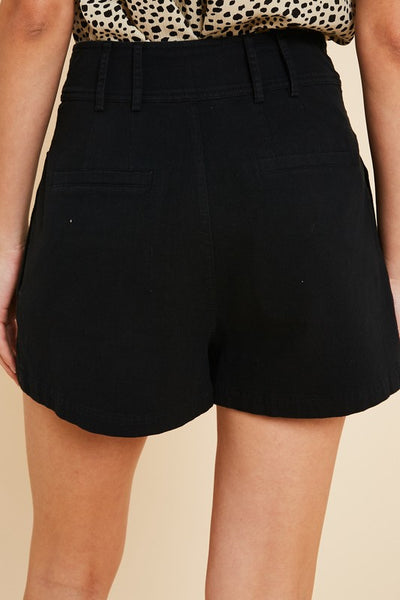Black Pleated Shorts