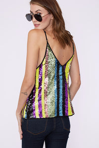 Multi-colored sequin top